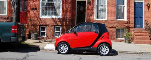 Smart Car on Riverside Ave in Baltimore